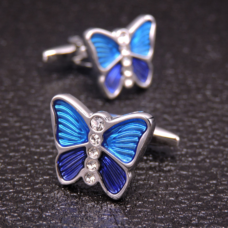 HYX Jewelry Round Blue Butterfly Brand Cuff Buttons French Shirt Cufflinks For Mens Fashion Cuff Links