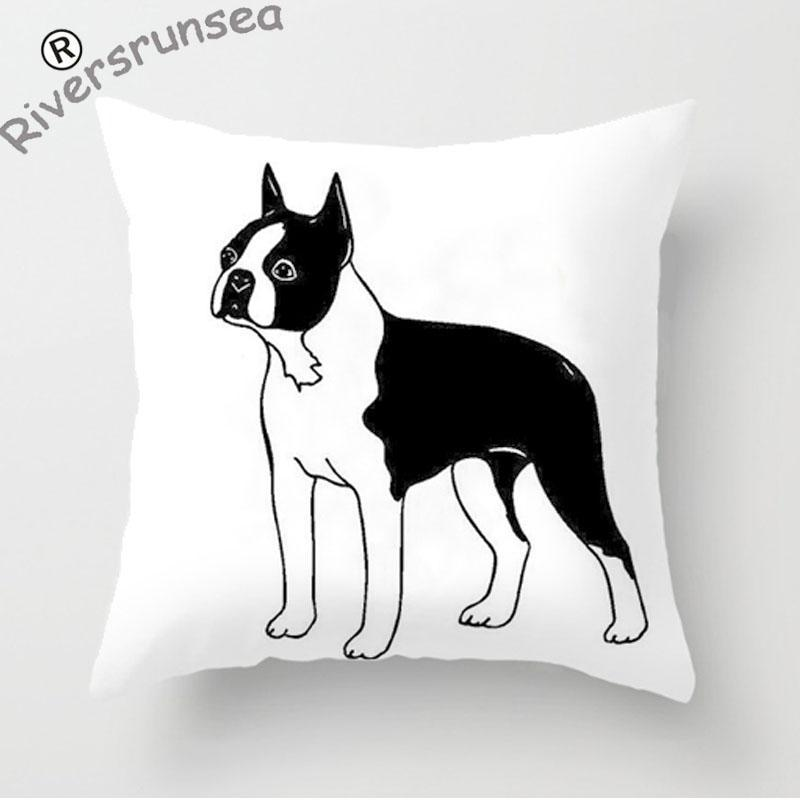 Cute Boston Terrier Pillow Case Bull Terrier Cushion Covers Bedding Frenchie Bulldog Pup ...