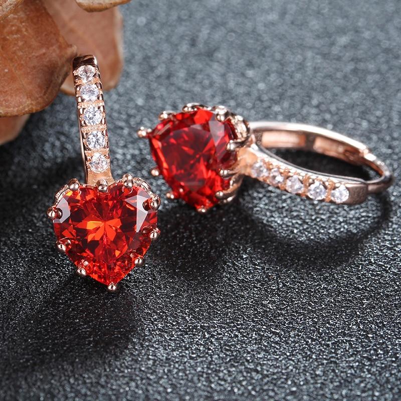 Kadın küpe aşk kalp saplama küpe kırmızı kristal CZ ince 925 - Kostüm mücevherat - Fotoğraf 2