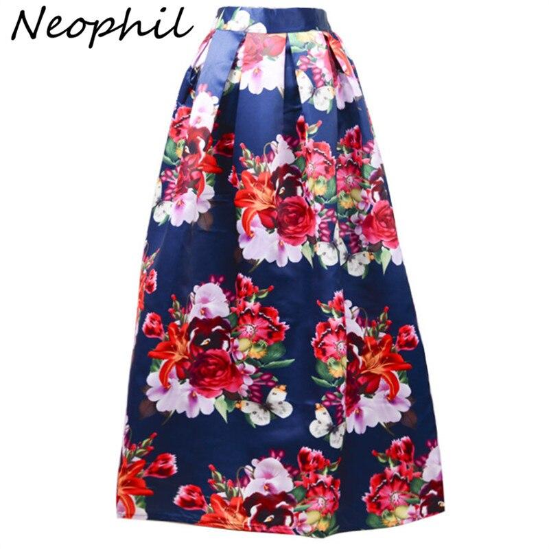 5f3391055ed9 Neophil 2018 зима большой цветок Цветочный принт Высокая талия  плиссированные мусульманская женская макси Юбки для женщин 100 см длинные  черный, б.