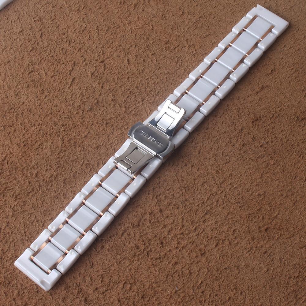 Bracelet en céramique blanc avec des bracelets de montre en or rose fermoir papillon bracelet en céramique hommes femmes bracelet de montre 18mm 20mm 22mm 24mm - 5