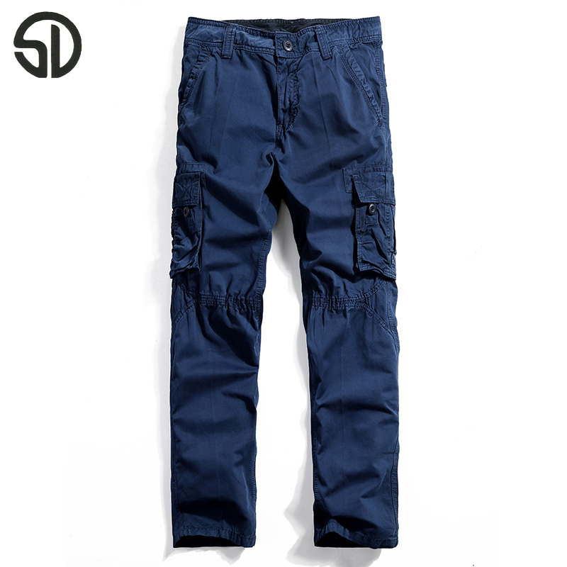 Brand Mens Pants Casual Cargo Pants Multi-pocket Vintage Military Pants Dark Blue Overalls Male 100% Cotton Tactical Pants K010