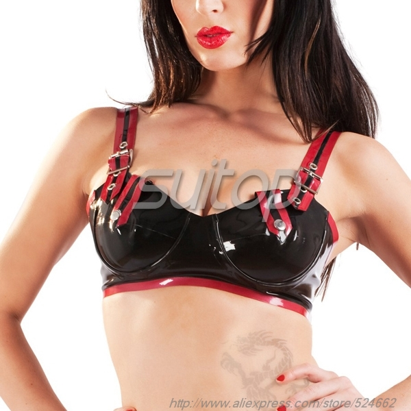 Latex Sexy Bra Black And Red Trim