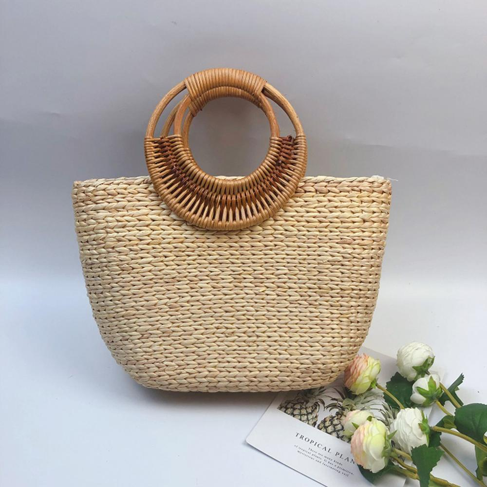 Square Round Mulit Style Straw Bag Handbags Women Summer Rattan Bag Handmade Woven Beach Bags Circle Bohemia Handbag #15