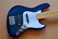 Hot Chinese blue 5 string bass electric bass guitar maple board finger, free shipping