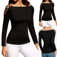 Women Solid Black Off Shoulder Sexy Hollow Out Long Sleeve Slim Rivet Tops Shirt Girl Woman