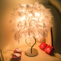 YOOK LED Feather Table Lamp Table Lamp for Bedroom Style Princess Table Lamp