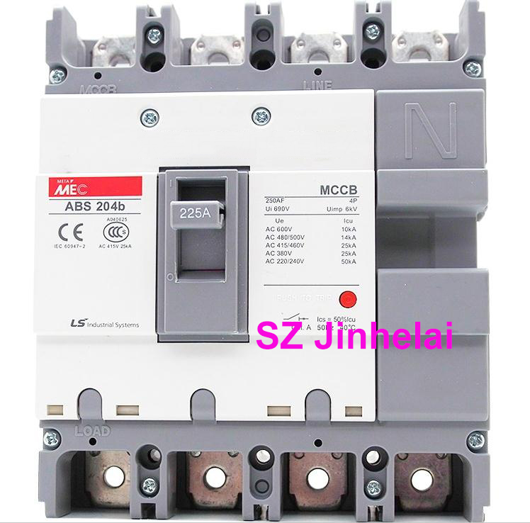 ABS204b Authentic original ABS 204b LS Molded case circuit breaker ABS-204B Air switch 4P 100A/125A/150A/175A/200A/225A cm1 400 3300 mccb 200a 250a 315a 350a 400a molded case circuit breaker cm1 400 moulded case circuit breaker
