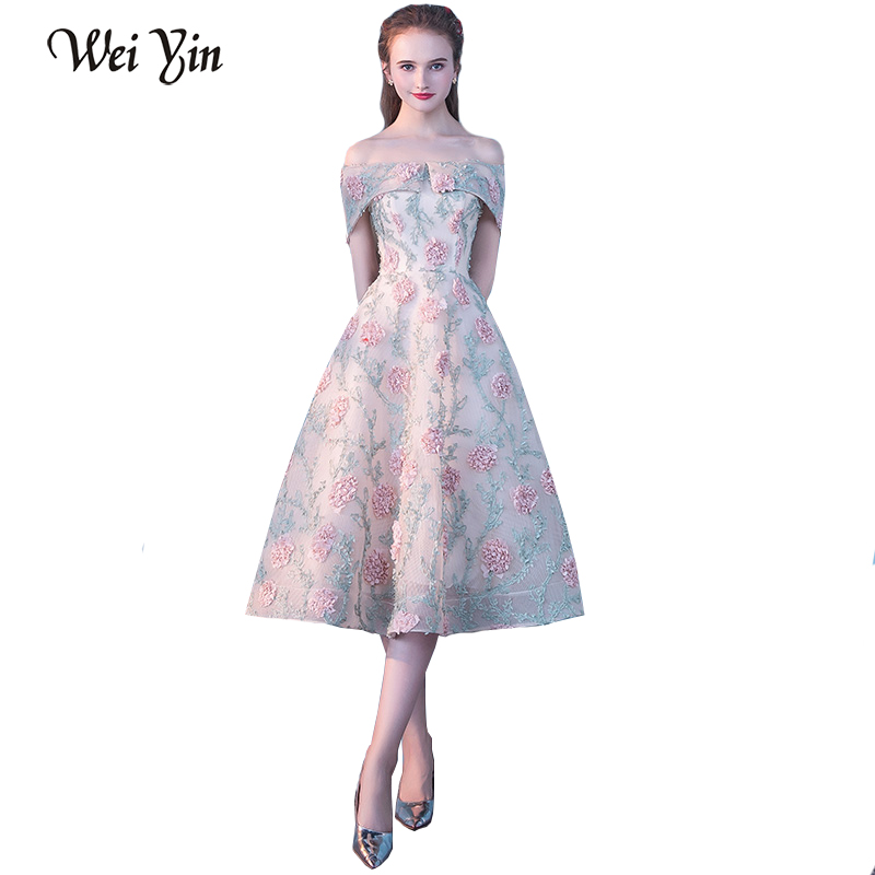 WEIYIN New Boat Neck Lace Flower Short   Evening     Dress   Short Sleeve Appliques the Bride Banquet Party Formal Gown Robe De Soiree