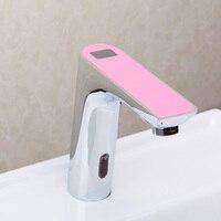 Chrome Waterfall Stream Bathroom Sense Water Taps Brass Automatic Basin Sensor Faucets Hand Washer Bathroom Faucet