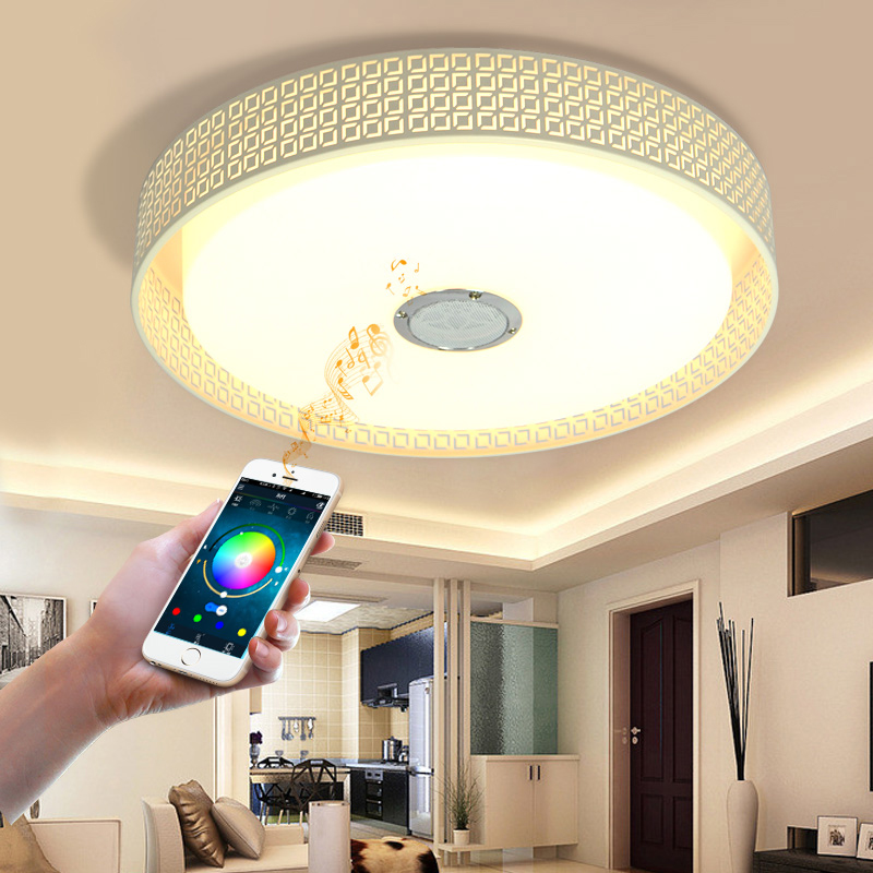 Modern smart Bluetooth music light led ceiling lamp bedroom room light mobile phone APP + remote control, round ceiling light цена