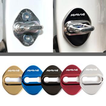 Car Styling pokrywy zamka drzwi do Toyota RAV4 naklejki ochronne i dekoracyjne akcesoria samochodowe tanie i dobre opinie 6 9cm Chrom stylizacja STAINLESS STEEL Protective And Decoration For prado 5 3cm car door cover 0 9cm