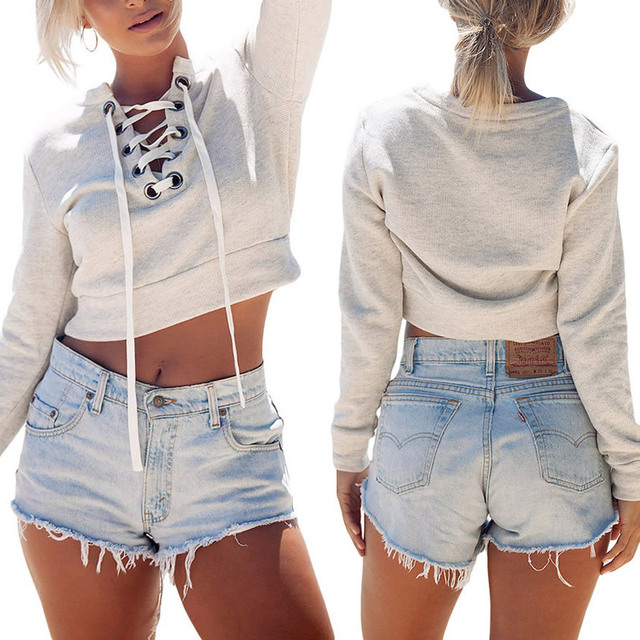 Sudaderas crop Lace Sweatshirt Sleeve Color Sexy Hoodie 20Off Drawstring Women Grey Us15 Tracksuit Mujer Femme Pullover Up Tumblr In 2016 Long 4 K1cTJFl