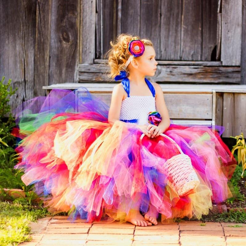 Beautiful Rainbow Girl Tutu Dress With Removable Sash Children Kids Birthday Wedding Photo Costume Flower Girl Tulle Dresses beautiful darkness