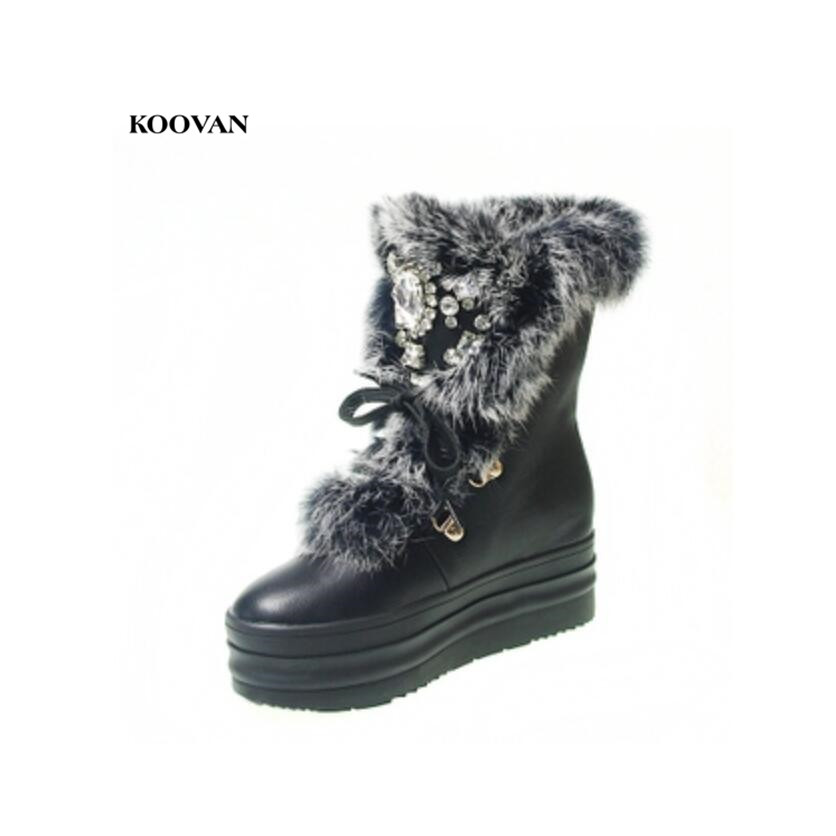Koovan Women's Snow Boots 2018 Handmade White Rabbit Fur Drill Warm Winter Boots Rhinestone Diamond Thick Soled Women Shoes