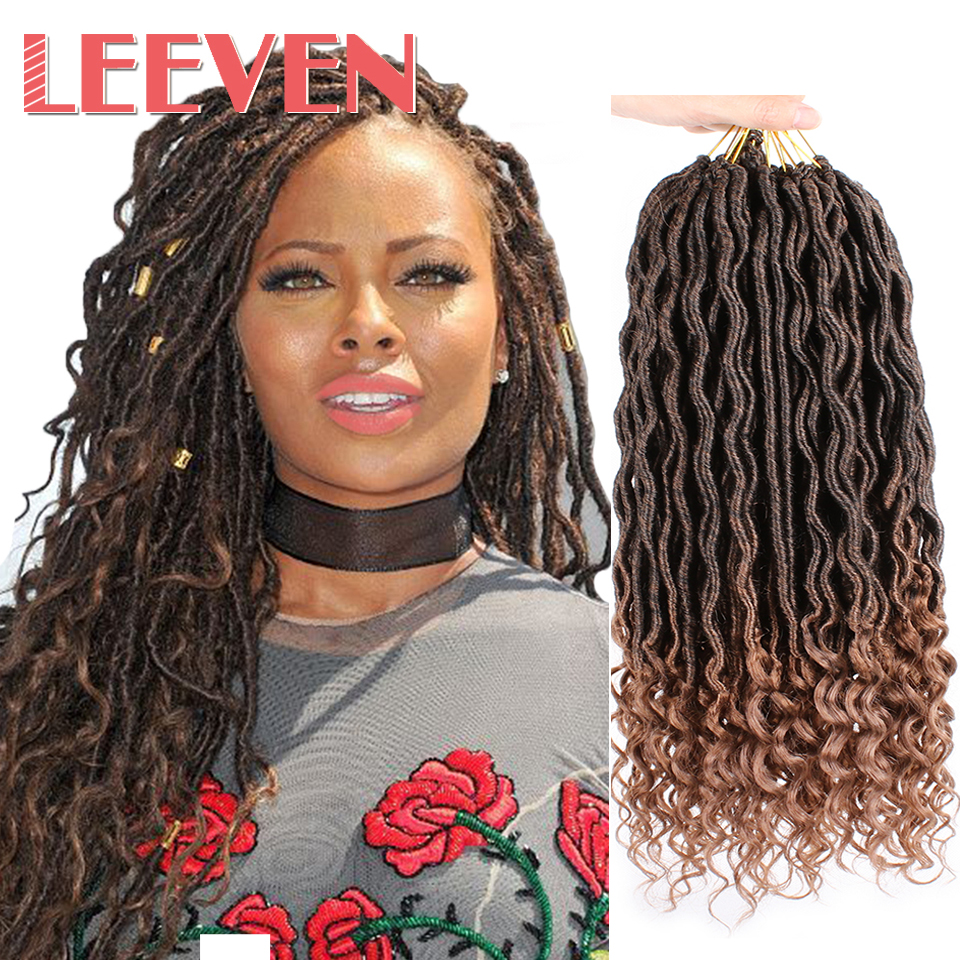 Leeven 18'' Goddess Faux Locs Crochet Hair Extensions Synthetic Crochet Braids Dread Locs Curly Hair Braiding Hair