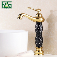 New Modern PVD Gold Single Hole Bathroom Sink Basin Faucet Mixer Tap w/ Handle