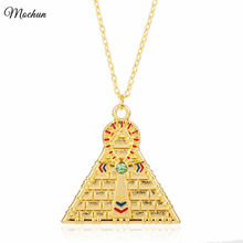 MQCHUN Men Hip Hop Gold Color Egyptian Pyramid Ankh Cross Symbol Of Life Pendant Necklace Religious Style Yu-Gi-Oh Necklace(China)