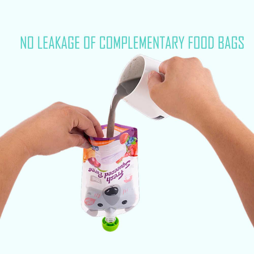 4 ชิ้น/ล็อตเก็บอาหารเด็กที่มีประโยชน์ 250 ML/200 ML Reusable บีบอาหารเก็บกระเป๋า DIY เด็กอาหารอาหารเด็กกระเป๋า