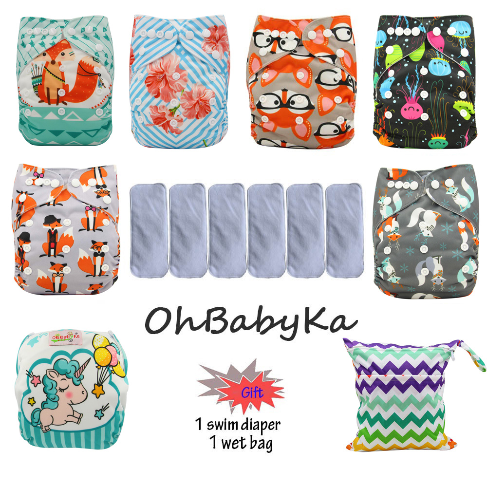 Ohbabyka Baby Cloth Diaper Cover Unicorn Animals Print 6pcs Washable Diapers 6pcs Microfiber Insert 1 Swim