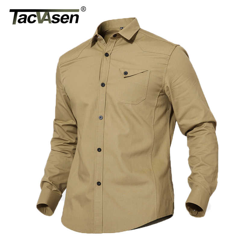 9036731edb44 TACVASEN Spring Men Shirts Tactical Military Men Casual Shirt Summer Slim Long  Sleeve Shirt Cotton Clothes