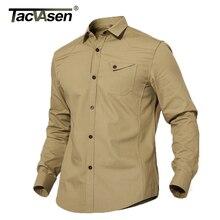 TACVASEN bahar erkek gömlek taktik askeri erkekler rahat pamuklu gömlek yaz moda Slim Fit uzun kollu gömlek erkek giyim