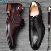 QYFCIOUFU 2019 New Handmade Designer Formal Shoes Men Luxury Wedding Oxford Calfskin Genuine Leather Office Dress Shoe