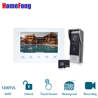 HomeFong 7'' Video Door Phone Intercom System Wired Doorphone1High HD 1200TVL Doorbell Touch Button With Free 8GB SD Card