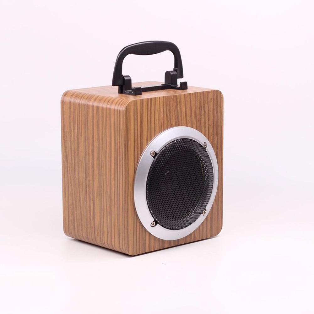 En bois Portable 15 W mode Portable en bois sans fil Bluetooth rétro haut-parleur 3D double haut-parleur Surround Mini USB charge