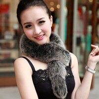2017 Hot Bán Hàng Thời Trang Nữ Chiếc Khăn Mùa Đông Tự Nhiên Bất White Fox Fur Đai Khăn Kết Thúc Tốt Đẹp Tự Nhiên Dài Lady Fox Stole Muffler