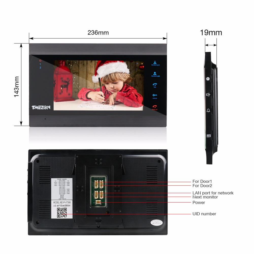 TMEZON 7 pouces sans fil Wifi Smart IP système d'interphone vidéo avec 2 moniteur de Vision nocturne + 1 caméra de sonnette étanche à la pluie - 3