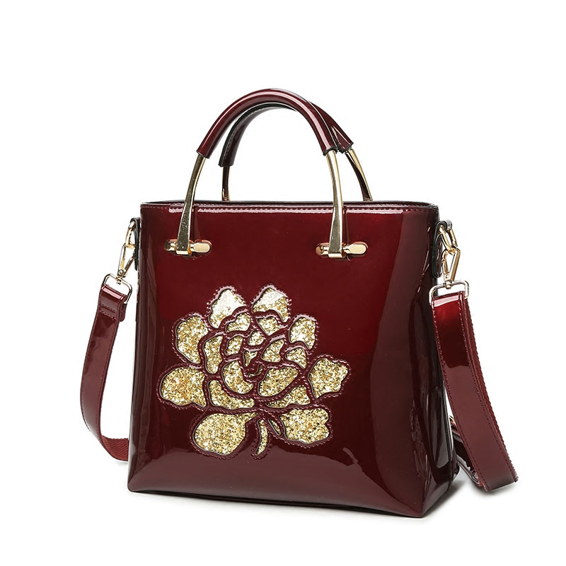 Luxury Sequin Embroidery Women Leather Bag Patent Leather Handbag Ladies Shoulder Messenger Bags Famous Brand Designer 2018 Sac fashion bags for women 2018 sequin embroidery luxury patent leather brand designer handbag women messenger bag bolsa feminina
