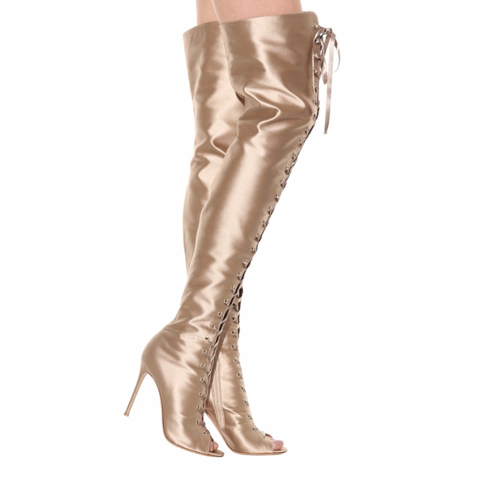 2e9ee69435674 Women Peep Toe Over the Knee High Boots Gold Satin Sexy Stiletto Heel Lace  up Thigh High Boots Long Boots with Zipper Large Size-in Over-the-Knee Boots  from ...