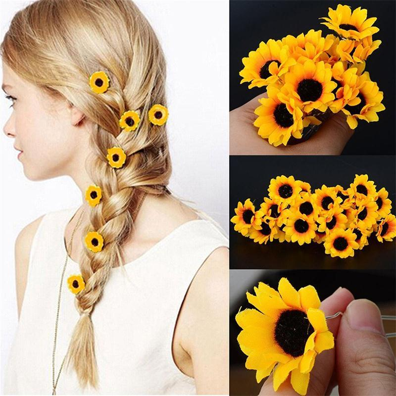 10PCS Women Sunflower Bridal Wedding Hair Pins Hair Clips Hairstlye Accessory Hairpin Hair Decoration Wedding Accessory Jewelry