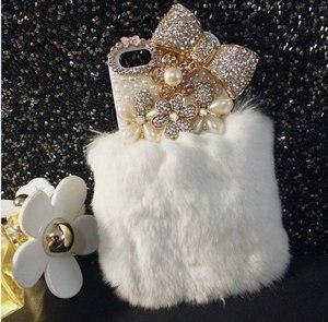 Image 5 - Шикарный чехол с кристаллами и пушистым кроличьим мехом, зимний мягкий чехол с кристаллами, блестящий Меховой чехол для samsung S7, S8, S9, S10, S20 Plus, Note 20, 10, 8, 9
