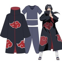 Anime Shippuden Naruto Cosplay Uchiha Itachi Costumes Unisex Fancy Party Uniform Red Cloud Cloaks Full Set for Halloween