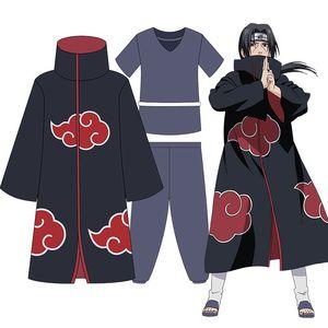 Image 1 - Anime Shippuden Naruto Cosplay Uchiha Itachi Kostüme Unisex Phantasie Partei Uniform Red Cloud Mäntel Volle Set für Halloween
