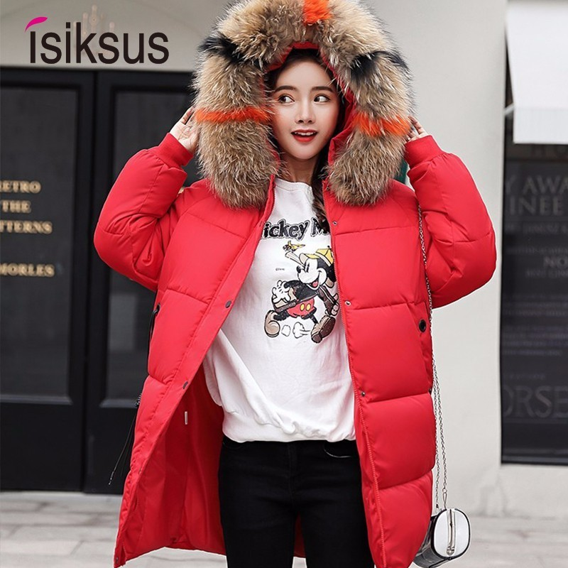 Isiksus Down Jackets Womens Winter Plus Size Long Quilted Black Hooded Fur Coats And Jackets Padded 2018   Parkas   For Women WP012