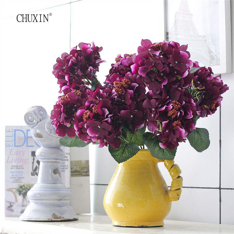 silk hydrangea mana 6 head 1 bundle flowers wedding christmas decorative accessories table for family meeting - Christmas Decorations Cheap