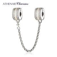 ATHENAIE 925 Gümüş Temizle CZ Beyaz Emaye Shining Path Emniyet Zinciri Fit Avrupa Bilezikler