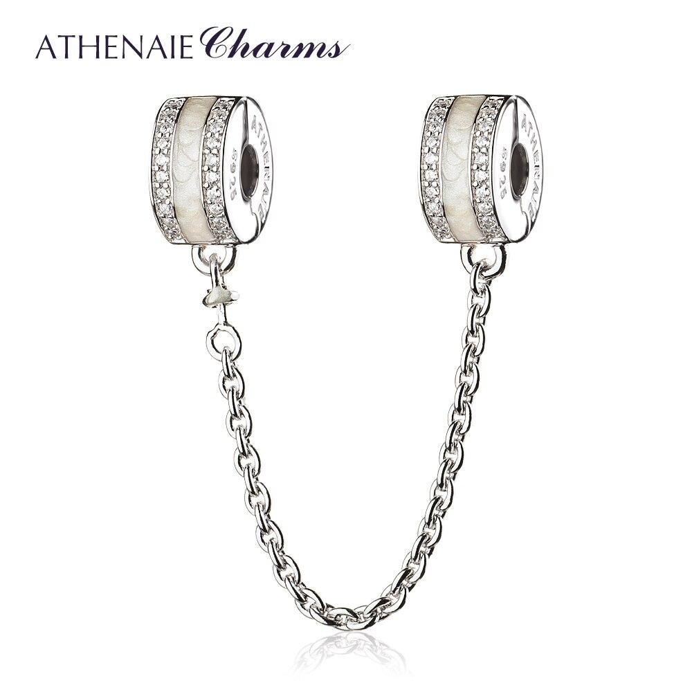 ATHENAIE 925 Sterling Argent Clair CZ Blanc Émail Brillant Chemin De Sécurité Pandora Chaîne Fit Européenne Bracelets