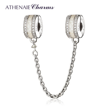 ATHENAIE 925 Sterling Silver Clear CZ White Enamel Shining Pan Safety Chain Charms Fit European Women Bracelets Christmas Gift