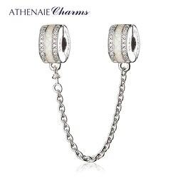 ATHENAIE 925 Sterling Silver Clear CZ White Enamel Shining Path Pandora Safety Chain Fit European Bracelets
