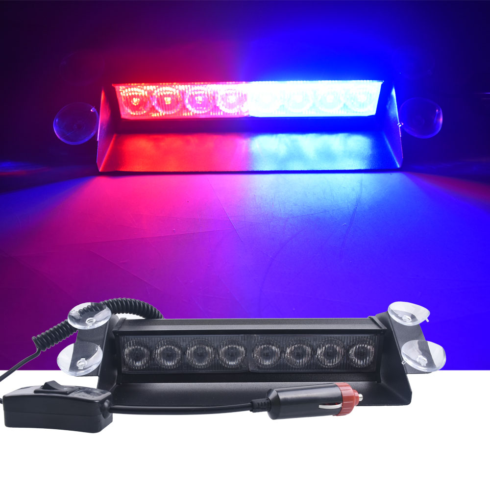 DC 12V 8LEDs Car LED Light Police Strobe Light Dash Emergency Suction cup Warning 3 Flashing Fog Lights Red/Blue Yellow Blue