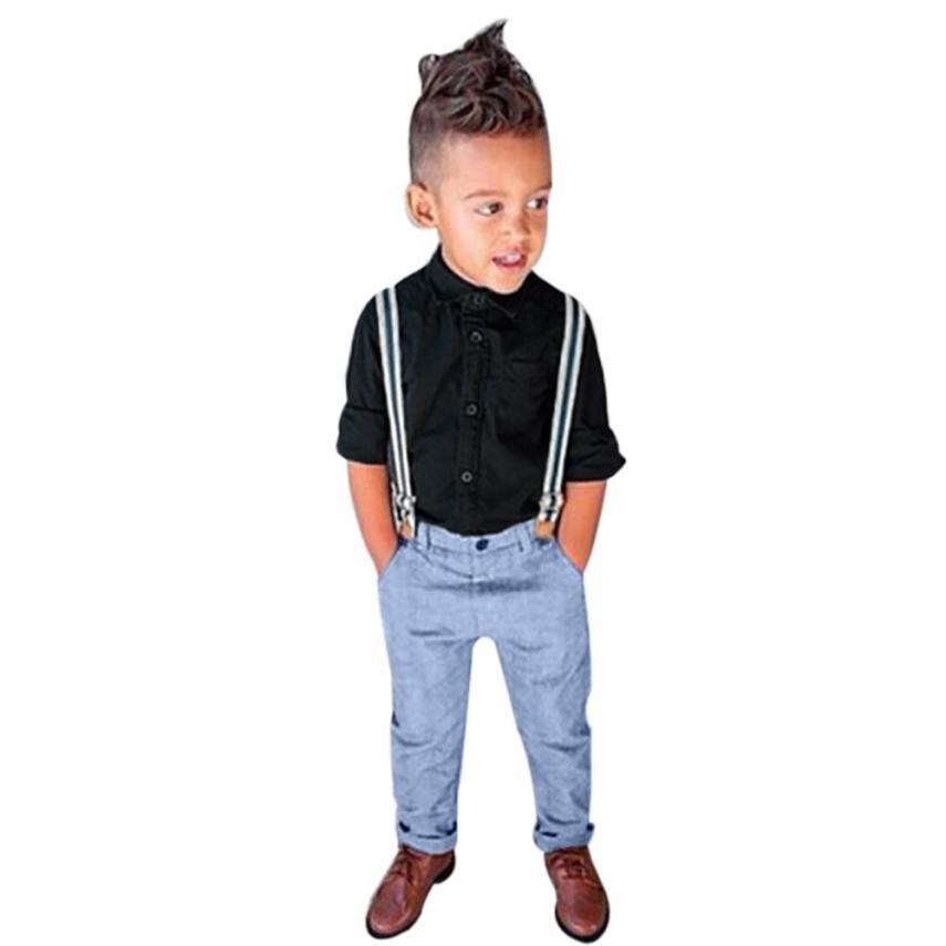 1 Set Kinder Baby Jungen Langarm T-shirt Tops + Hosenträger + Hosen Kleidung Outfits Kleinkind Overalls 18mar16 HeißEr Verkauf 50-70% Rabatt