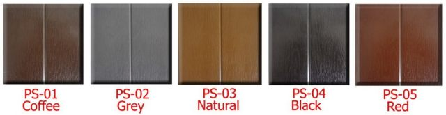 Color swatches of spa cabinet