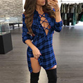2017 Women Winter Plaid&Checkered Dress Long Sleeve V Neck Lace-up Short Mini Dress Fashion Women Casual Loose Dress Vestidos