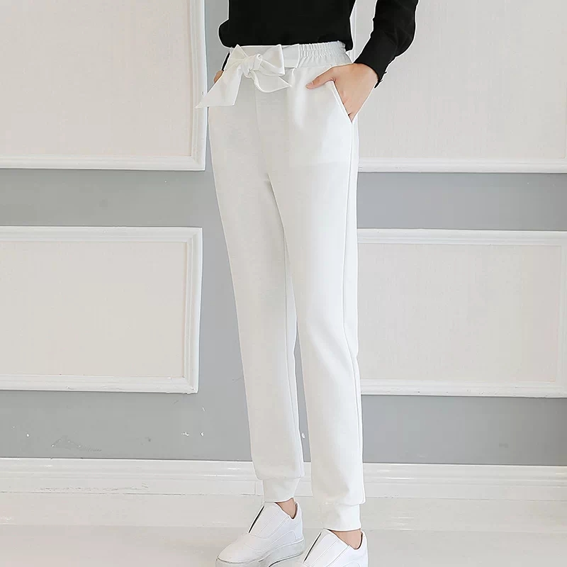 QIAOYI JIA Women OL high waist harem pants bow tie drawstring sweet elastic waist pockets casual trousers pantalones black/white 3