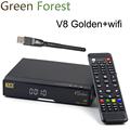 V8 Golden Satellite Receiver With 1 piese USB WIFI 1080P Full HD DVB-S2+T2+Cable Support ,IPTV,Youtube,Youporn Free Shipping