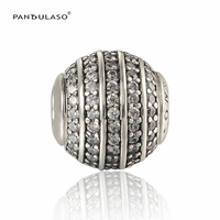 Genuine 925 Sterling Silver Pave Zircon Confidence Essence Charms Fit European Bracelets Small Bead Best Friends